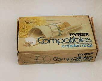 Vintage Pyrex Compatibles Snowflake Napkin Rings, Set of 6