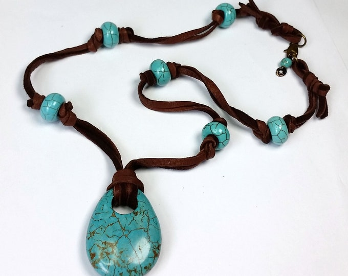 Turquoise Magnesite Teardrop Pendant on Knotted Soft Chocolate Leather Cord with Earrings - Turquoise Pendants - Jewelry with Leather