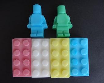 Lego Brick Soap 4 Bricks + 2 Mini figures Shea Butter  Multicolor Red Blue Green Yellow White