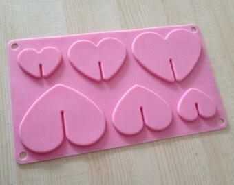 6-hole Heart Shape Cake Mold Flexible Silicone Soap Mold Soap Candle Candy