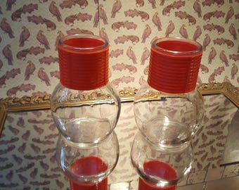 vintage clear glass juice drink holder vase orange accent