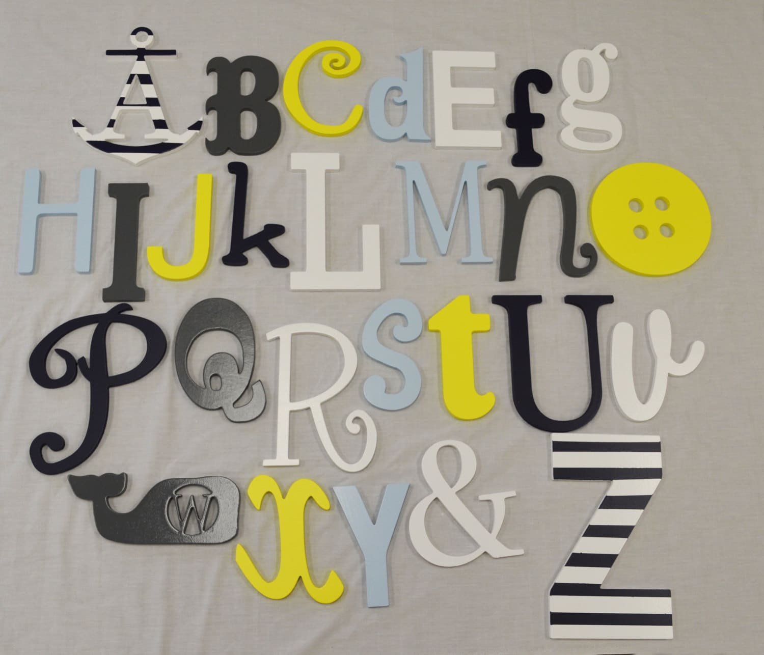 Alphabet Letters For Wall Painted Wooden Alphabet Letters Set Wood Wall Letters Abc
