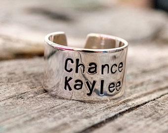 """Two Name Personalized Stacked Name Ring. 1/2""""  Sterling Silver Cuff Ring."""