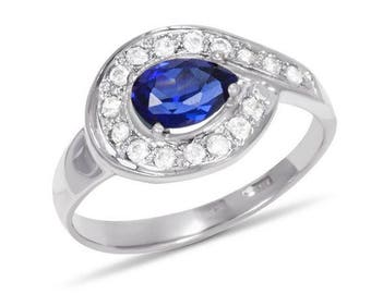 Sterling Silver Ring, Sapphire Ring, Gemstone Ring, Cubic Zirconia