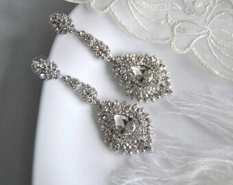 SCARLETT Chandelier Vintage Crystal Bridal Earrings Long Victorian Style Earrings Wedding Jewelry drop wedding Earrings