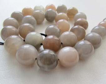 Peach and Gray Moonstone Large Smooth Polished Round Beads Half Strand