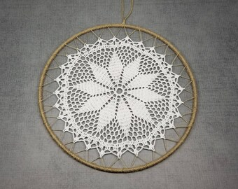 10 Inch Dream Catcher Starter Ring, Crochet Mandala, Wrapped Ring with Jute Twine, Hemp Cord and a Crocheted Mandala Doily