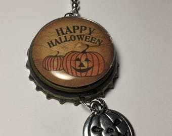 Happy Halloween bottle cap charm for jar candles