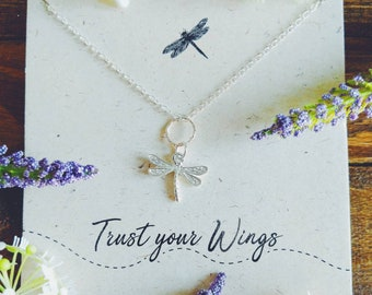 """Sterling Silver Dragonfly Necklace//Sterling Silver// Personalised //Trust Your Wings""""//Dragonfly Pendant// Quote jewellery// Graduation"""