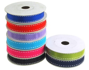 Saddle Stitch Border Grosgrain Ribbon, 5/8-Inch, 10 Yards