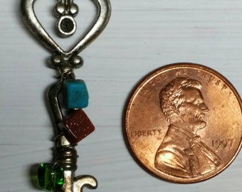 """Wire wrapped silver key pendant necklace """"key to my heart"""""""