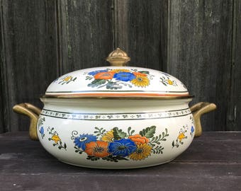 Alta floral Old Amsterdam pattern 4 quart Dutch oven covered casserole brass handles enameled