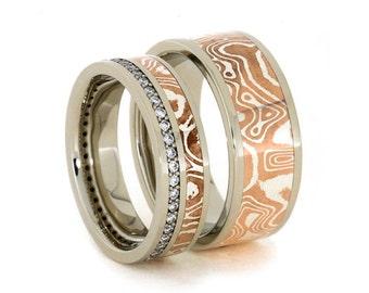 Wedding Band Set Fashioned with 14k White Gold and Copper Silver Mokume, Diamond Eternity Band