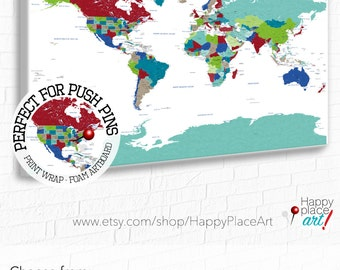 Educational Map Print, Bright colours, Push Pin world map with quote, World map for boy, Oh the places You'll Go World Map, Adventure Awaits