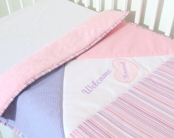 Custom Minky Baby Blanket, Personalized,  Embroidered, Soft pink-white, purple