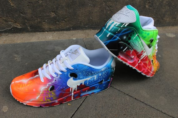 meet af67d d3b31 Custom Airbrush Nike Air Max 90 White Drip Galaxy Style ...