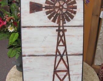 Windmill, Windmill Wall Decor,Farmhouse Wall Decor,Country Wall Decor,Wooden Art Sign,Annie Lapoint,9x18