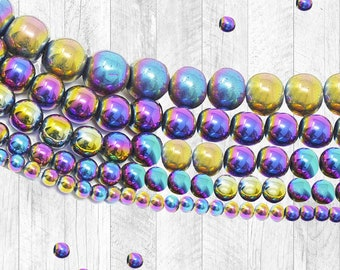 Rainbow Hematite  Beads - 4mm, 6mm, 8mm, 10mm, Natural Gemstone Beads, Round Beads, Full Strand -  U.S SELLER Fast Shipping