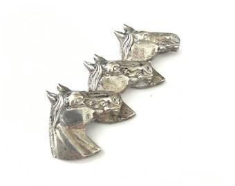 Vintage Silver Tone Horse Head Brooch - AS IS