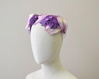 1950s Purple Floral Headband Hat