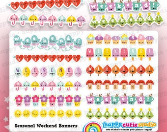 12 Cute Weekend Banners/Functional/Planner Stickers, Filofax, Erin Condren, Happy Planner,  Kawaii, Cute Sticker, UK