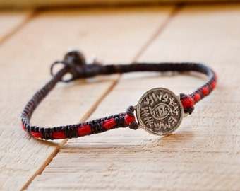 Evil Eye Protection 925 Sterling Silver Amulet Handmade with Red String Woven into Black Macrame Bracelet - VERY DURABLE