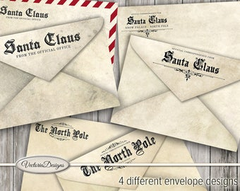 Official Santa Claus Envelopes printable Christmas wish list paper crafting journal scrapbooking instant download digital sheet - VDENCM1558