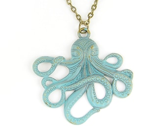 Octopus Necklace Verdigris Octopus Pendant Brass Bronze Ocean Marine Life Nautical Jewelry with 24 or 30 inch Chain |NB2-5