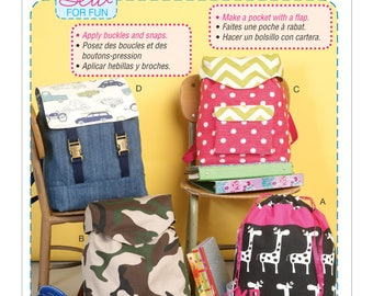 Sewing Pattern for Drawstring or Flap-Closure Backpacks, McCall's Pattern 7207, DIY Backpacks, A Learn to Sew Pattern