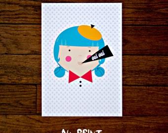French Girl Print.