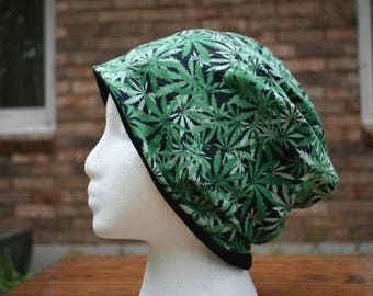 Cannibis - weed slouchy beanie - mary jane - pot  - 420  - weed hat -  fall fashion - fall accessory - slouchy beanie  - reversible hat