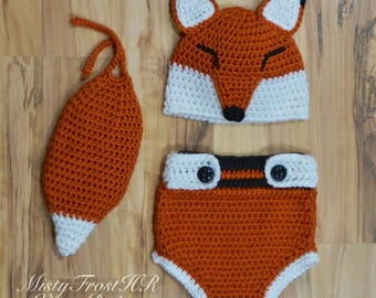 PDF Crochet Pattern - Kajika The Baby Fox Hat & Diaper Cover