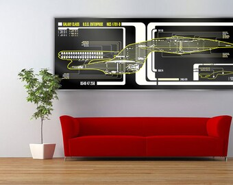 Star Trek Schematic LCARS USS Enterprise 1701-D Large Print
