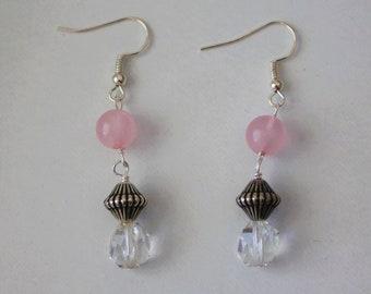 Dangle Rose Quartz Earrings with Metal Beads