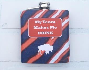 Buffalo Hip Flask,Stainless Steel Hip Flask,Buffalo Team Flask,Gift for Guys,Bachelor Party Gift,Birthday Gift,Groomsmen gift