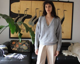 Vintage Grey Cable Knit Sweater L