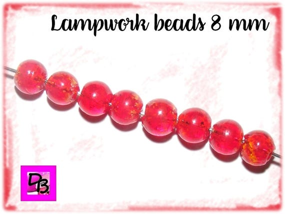 10 perles Lampwork [Crimson] 8mm