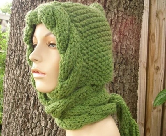 Grass Green Hooded Scarf Chunky Knit Hat Womens Hat Green Hat Green Scarf - Green Cable Scarf Hat Green Knit Hat - Womens Accessories