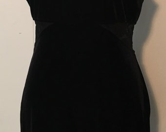 Vintage 1990s All That Jazz Black Velvet-Style Tank Dress with Sheer Cutouts at Waist and Back