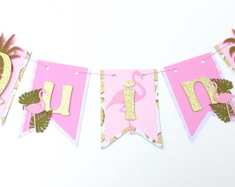 Flamingo name banner, pineapple name banner, tutti frutti birthday banner, flamingle party decorations, happy birthday banner