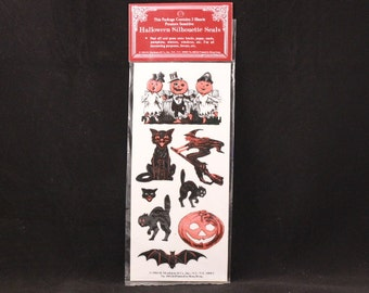 Vintage Shackman Halloween Silhouette Seals. 3 Sheets Diecut and Pressure-Sensitive Stickers. Sealed 40626