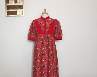 Vintage 70s Red Dress with Novelty Print