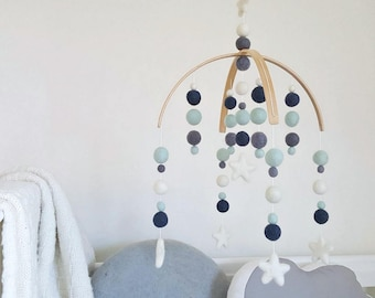 Baby Mobile, Cot Mobile, Nursery Mobile, Baby Boy Mobile, Crib Mobile, Felt Ball Mobile, Pom Pom Mobile, Mint & Grey Mobile for Baby