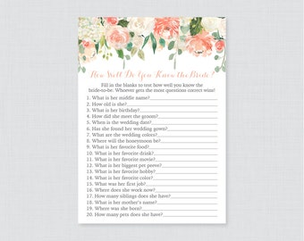 Purple floral bridal shower how well do you know the bride to peach floral bridal shower how well do you know the bride to be game printable peach bridal shower who knows the bride best 0028 maxwellsz