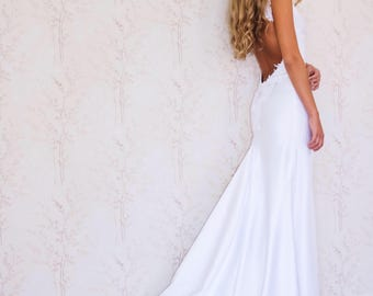 Backless Wedding Dress/ Simple Wedding Dress/ Boho Wedding Dress/ Beach Wedding Dress/ Low back Bridal Dress/ Satin Bridal Gown