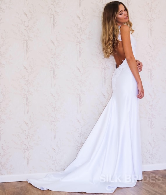 Backless Wedding Dress/ Simple Wedding Dress/ Boho Wedding