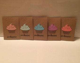 Happy Birthday Cards, cupcake cards. Set of 5