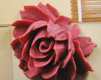 5 pcs - Big Maroon rose cabochon  (CA800)