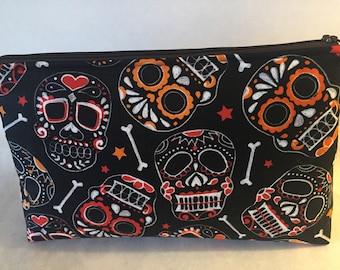 Skull and Bones Zipper Pouch/Makeup Bag