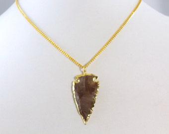 arrow necklace, gold arrow necklace, arrow stone necklace, arrowhead necklace, arrowhead pendant, gold necklace arrowhead, holiday gift